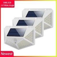 Quatro face 100 led luz solar sensor de movimento 3 modos de luz de parede à prova dwaterproof água jardim ao ar livre lâmpada de iluminação de emergência solar|Lâmpadas solares| |  -
