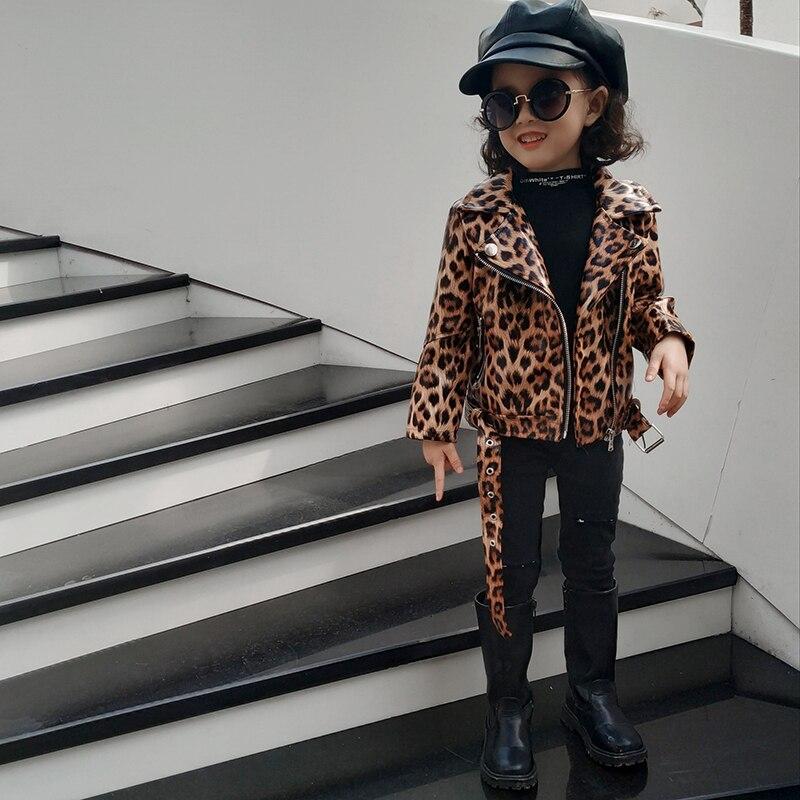 Children Autumn Jacket 2021 Leopard Toddler Girl Coat Kids PU Leather Clothes Baby Boys Girls Short Jackets Zipper Coats Outwear 4