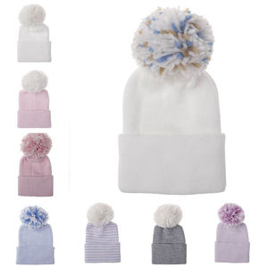 Hospital Newborn Baby Hats Winter warm Cotton Beanie With pom pom ball Knit Infant Caps Bebe Photography doll Hats H100S(China)
