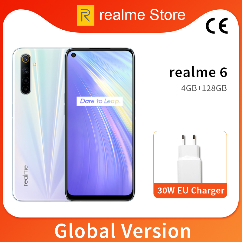 Realme 6 Global Version 4GB 128GB 6.5'' Moblie Phone Helio G90T Octa Core 64MP Quad Camera Cellphone 430mAh 30W EU Charger