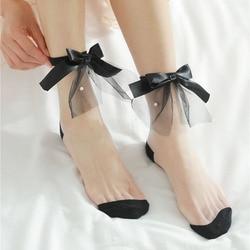 Модные ультратонкие носки, летние женские прозрачные кружевные однотонные короткие носки, милые винтажные сетчатые носки из стекловолокна...