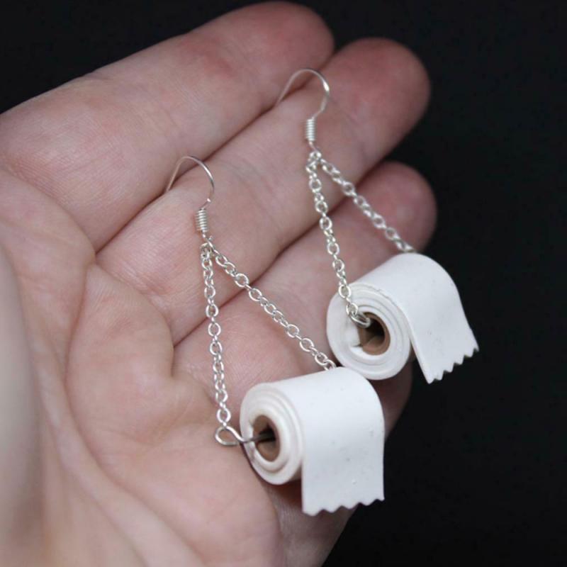 2020 Dangle Drop Funny Earrings Roll Paper 3D Tissue Geometric Drop Earrings Creative Paper Towel Toilet Paper Earrings  Women