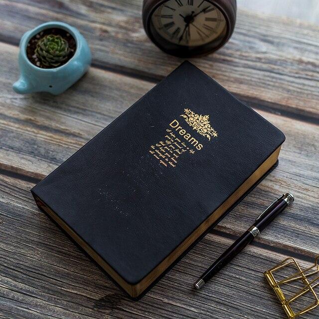 レトロスーパー厚み208枚のブランクノートブックジャーナルリムゴールデンヴィンテージ聖書日記ジャーナルプランナーアジェンダメモ帳文房具