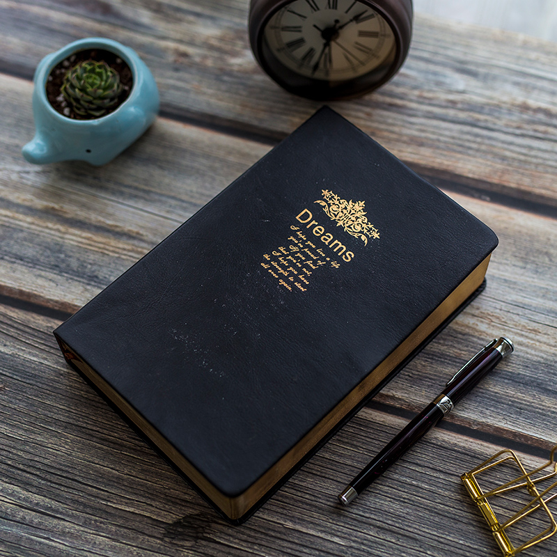 Retro Thicken Portable Notebook Black Bible Diary Stationery Journal Gift 208 Sheets Golden Rim Bullet Journal Blank Sketchbook