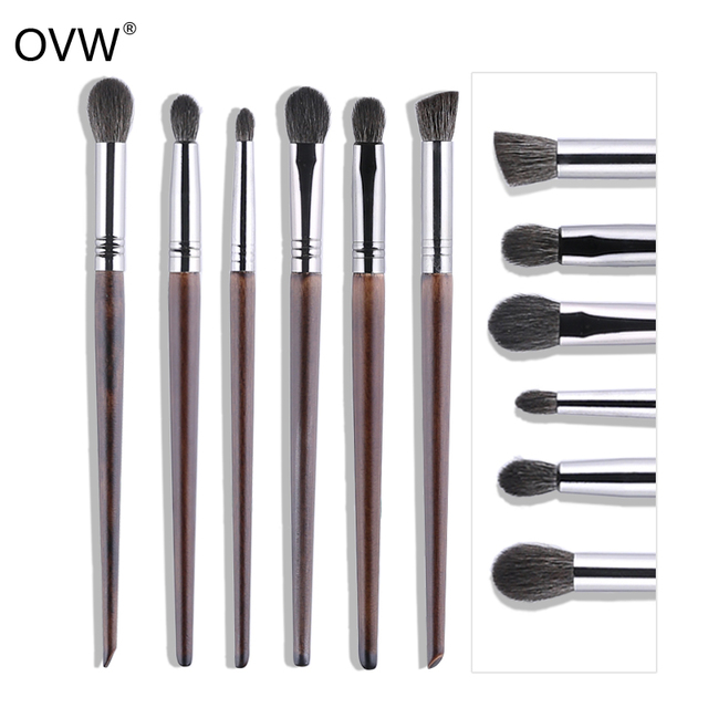OVW Cosmetic 6 pcs Ultra Soft 100% Goat Hair Makeup Eye Shadow Brush Set Tools Tapered Blending Diffuse Kit Shader Cut Crease 1