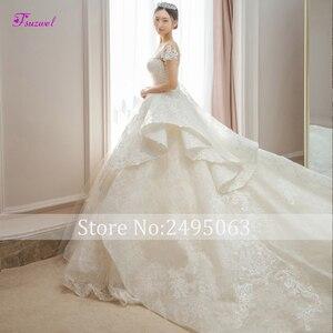 Image 3 - Fsuzwel великолепные свадебные платья трапециевидной формы с кружевной аппликацией и длинным шлейфом 2020 роскошное свадебное платье с бисером и глубоким вырезом Vestido de Noiva