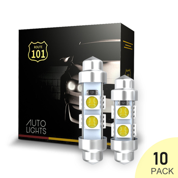 Route101 10x C5W C10W 36mm 42mm Festoon 12V Auto White LED Bulb for Car Interior Ceiling Map Dome Reading Light Lamp Replacement 10pcs high quality 42mm c5w 4 md 5050 led canbus no error free car interior festoon dome light auto reading lamps bulb white 12v