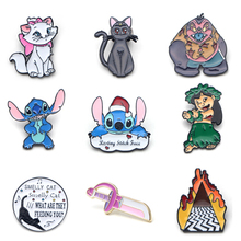 V131 Stitch and Cat Friends TV Metal Enamel Pins and Brooches Fashion Lapel Pin Backpack Bags Badge Collection Gifts 1pcs v280 game mass effect metal enamel pins and brooches fashion lapel pin backpack bags badge collection