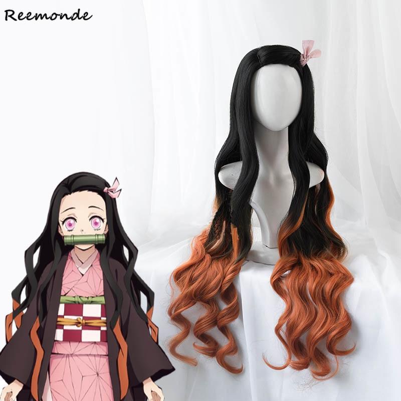 Anime Demon Slayer: Kimetsu No Yaiba Wigs Cosplay Costume Kamado Nezuko Wigs Kamado Tanjirou Synthetic Hair Wigs Girls Boys Wig
