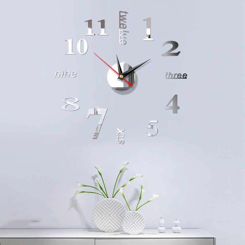 Duży cyfrowy wyświetlacz użytku domowego sztuki nowoczesny styl europejski zegar ścienny naklejki 3D proste lustro akrylowe akcesoria DIY zegarek
