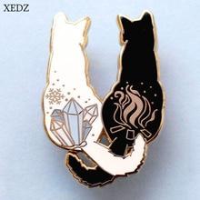 XEDZ новая милая задняя брошь с котом, черная кошка, белая кошка, бок о бок, детская Милая брошь в виде животного, подарок, рюкзак, одежда, подвеска je
