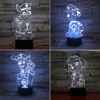Paw Patrol 3D LED Night Light 7 Color Changing Lamp Room Decoration Cute Cartoon Action Figure Toy For Birthday Christmas Gift