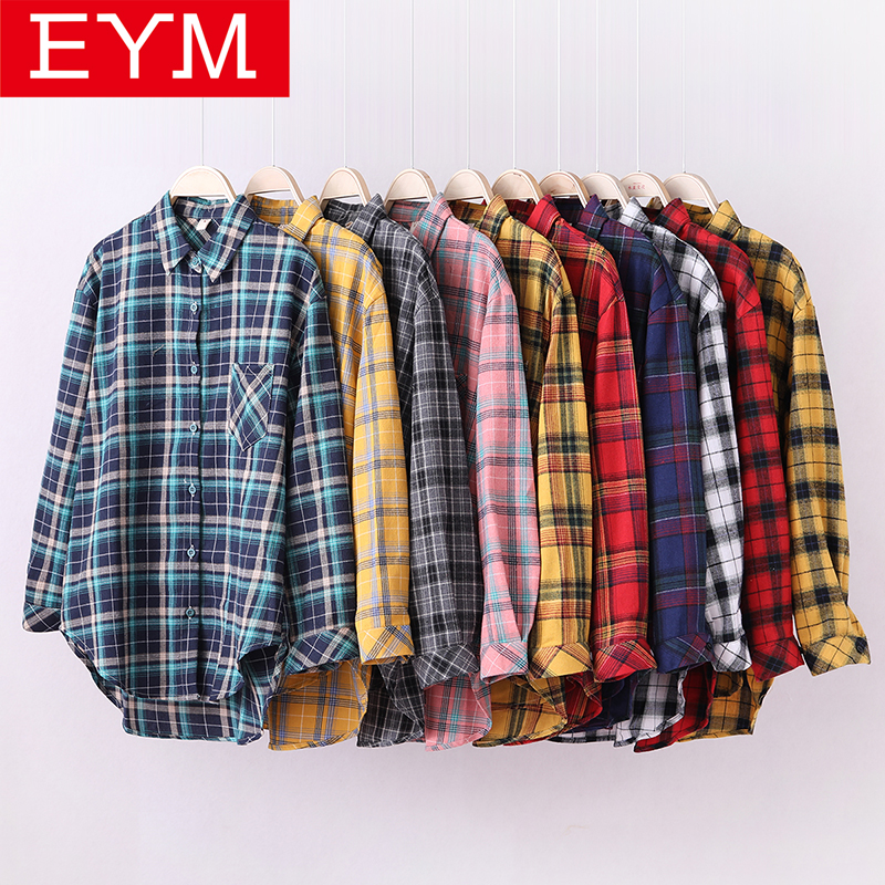 2019 New Brand Plaid Shirt Women Loose Plus Size Blouse Female Long Sleeve Blouses Cotton Flannel Casual Shirt Women Tops Blusas