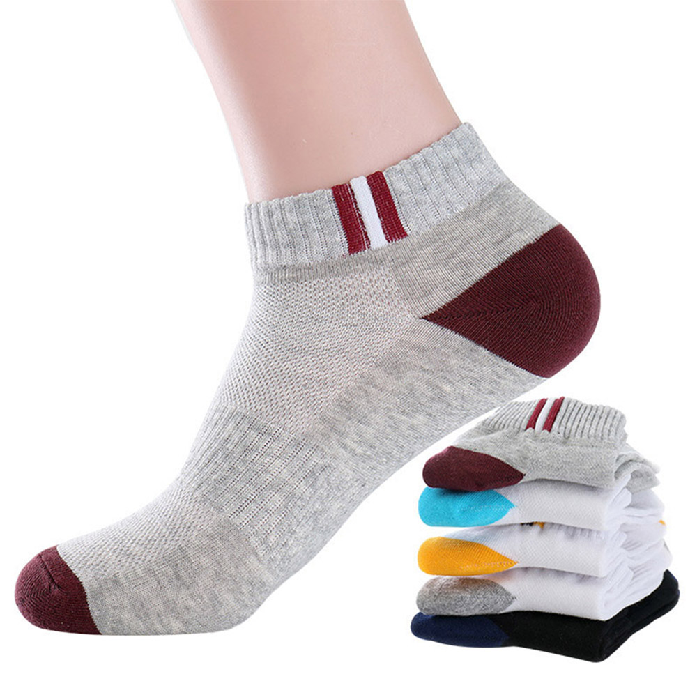 1 Pairs Mens Autumn Summer Sports Socks Classic Patchwork Mesh Breathable Cotton Men Short Sock Deodorant Male Socks