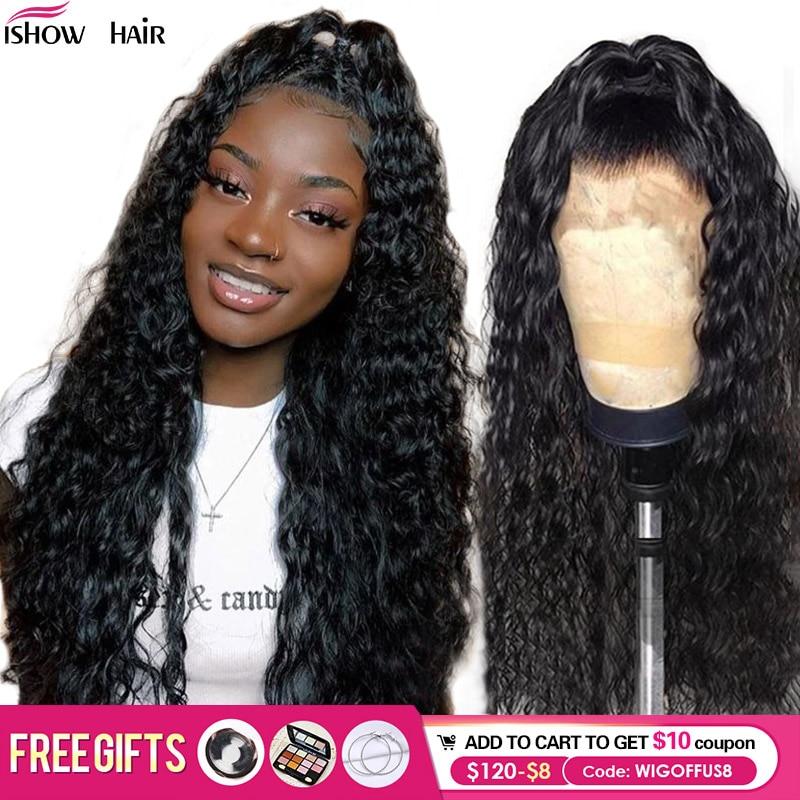 Brazilian Kinky Curly Human Hair Wigs 360 Lace Frontal Wig 150% Density Ishow Hair 13x6 Kinky Curly Lace Front Human Hair Wigs