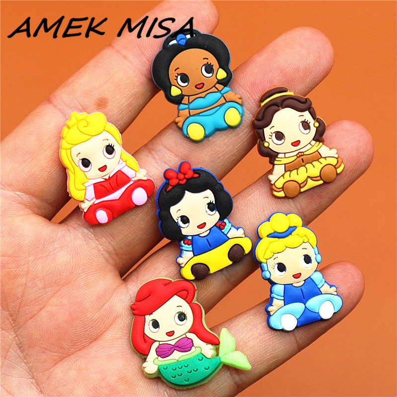 Free Shipping 1pcs Cute Princess Shoe Charms Shoe Accessories For Wristbands Croc Jibz Best Gift For Shoe Decoration Kids Gift