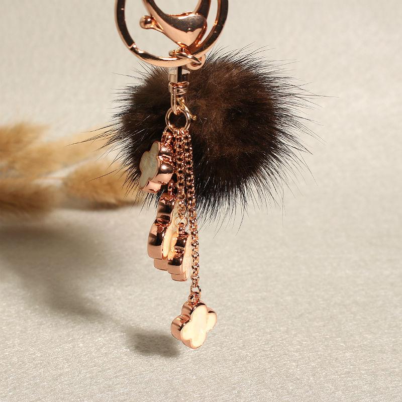 Bag Charm Keychain Pom Pom Faux Leather Tassel Brown 4 cm Real Mink Fur Ball