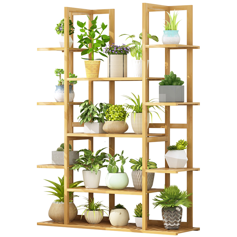Trapezoid Ground Multi-storey Indoor Balcony A Living Room Solid Wood Green Radish Meat Bamboo Flowerpot Frame