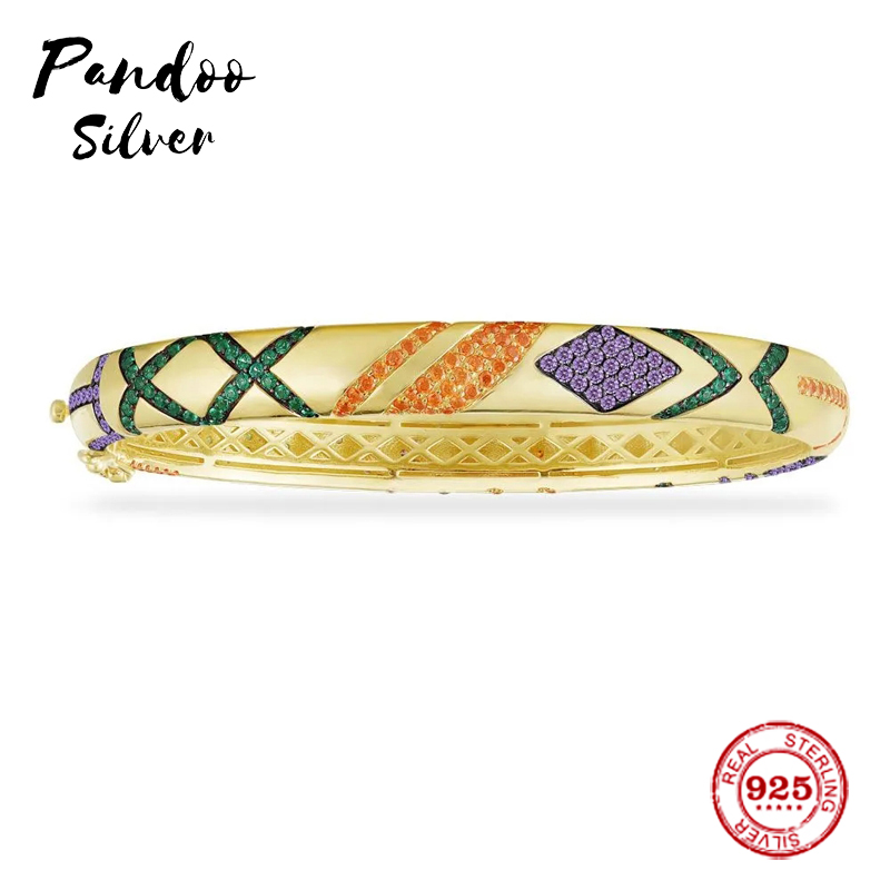 Fashion Charm Sterling Silver Copy 1:1 Copy,Yellow Multicolor Tribal Bangle With Geometric Shapes Women Luxury Jewelry Gift