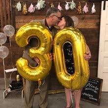 Ballons à chiffre en aluminium, 32/40 pouces, à hélium, pour enfants et adultes de 16, 18, 21, 30, 40, 50 ans, décorations d'anniversaire, 30e anniversaire