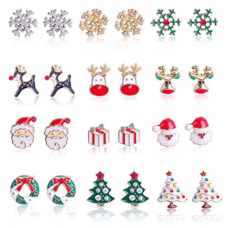 Серьги-гвоздики в виде деда мороза, серебристого цвета, маленькие снежинки, Мультяшные рождественские аксессуары для девочек, рождественск...