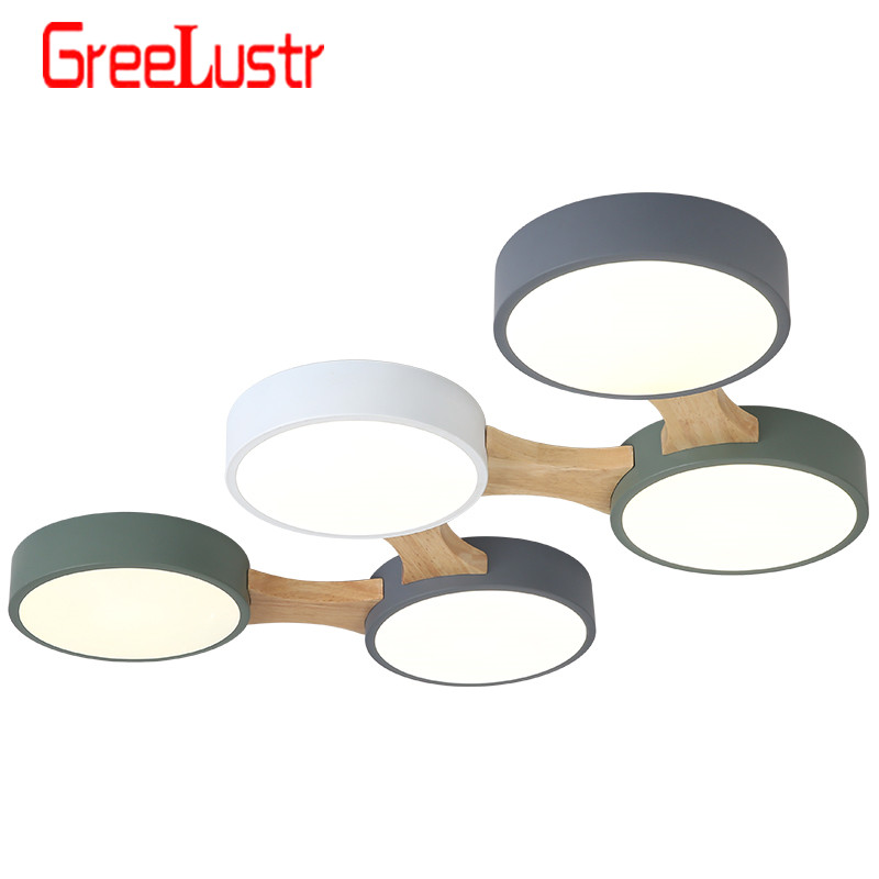 LED Ceiling Lights With Round Metal Lampshade For Living Room Modern Surface Mounted Ceiling Light Wood Bedroom Lamp