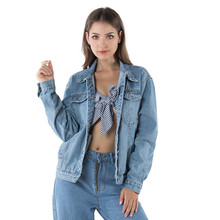 Autumn Women Single-breasted Denim Jacket Harajuku boyfriend Wind Jean Jacket Loose Long Sleeve Winter jackets coats Streetwear