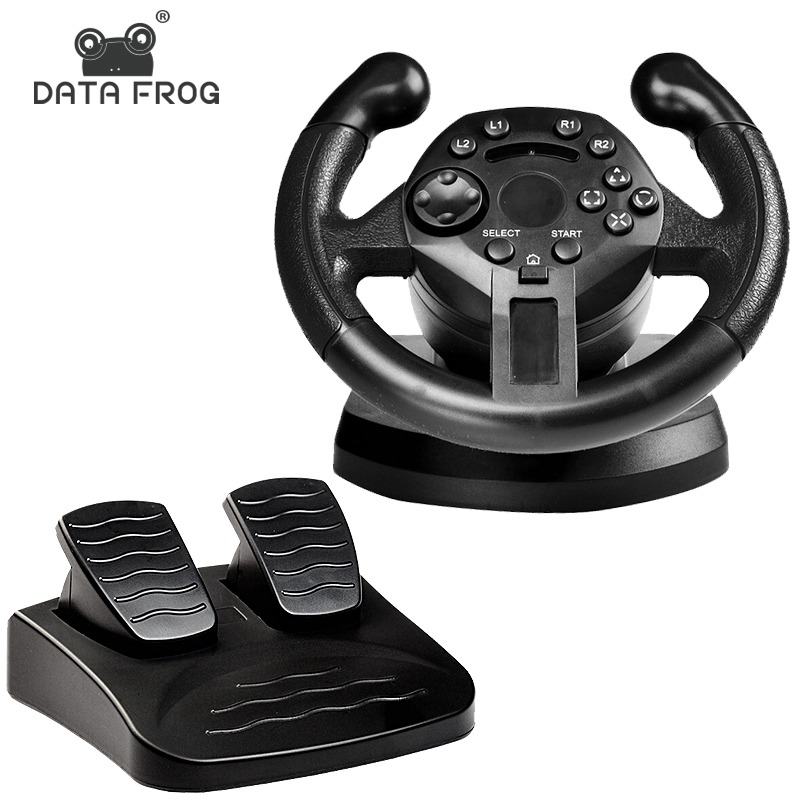 DATA FROG Racing Steering Wheel For PS3 Game Steering Wheel PC Vibration Joysticks Remote Controller Wheels Drive For PC image