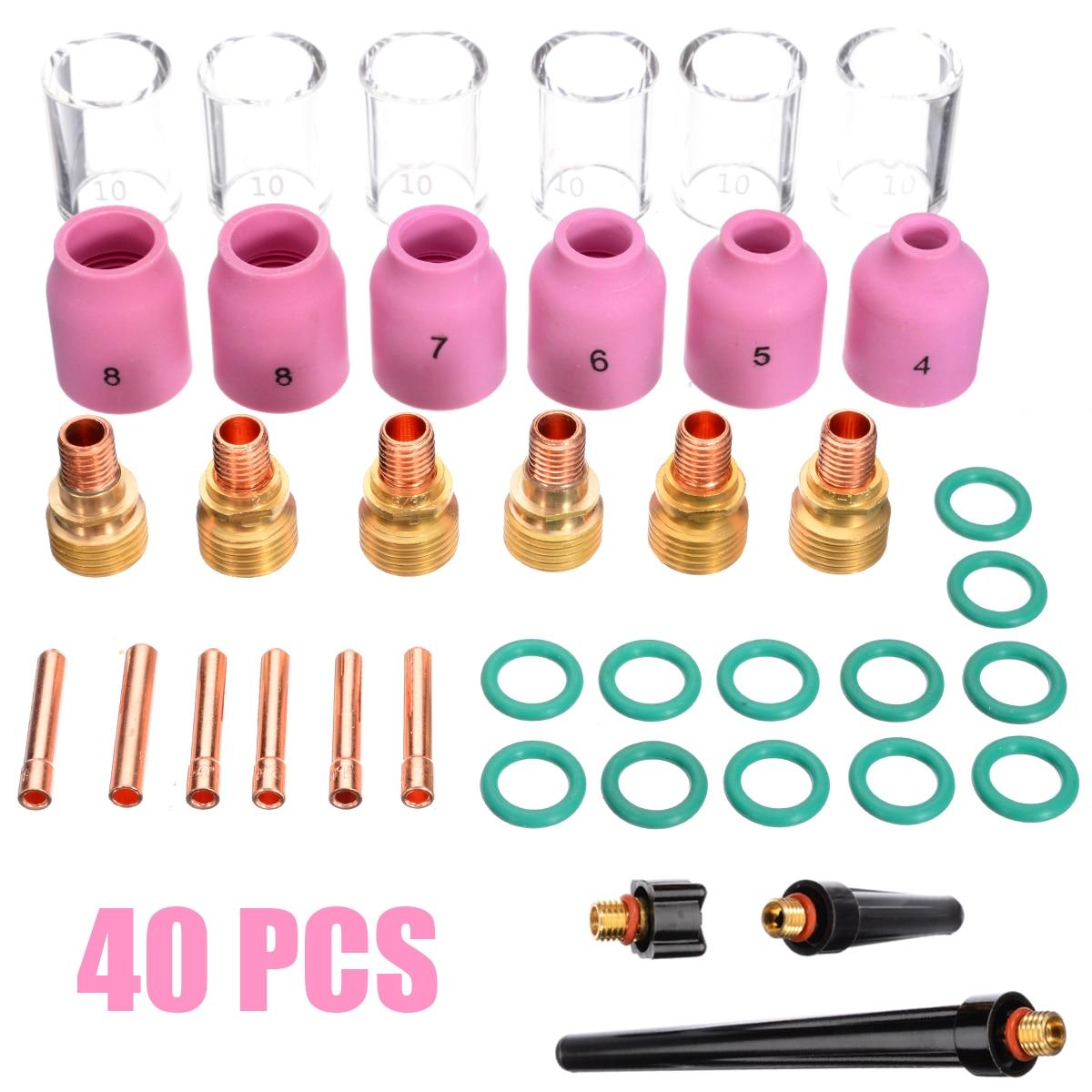 4Pcs Wig-schweißbrenner Collet Gas Objektiv Pyrex Glas Tasse Kit Für WP-9/20/25 Praktische Schweißen zubehör