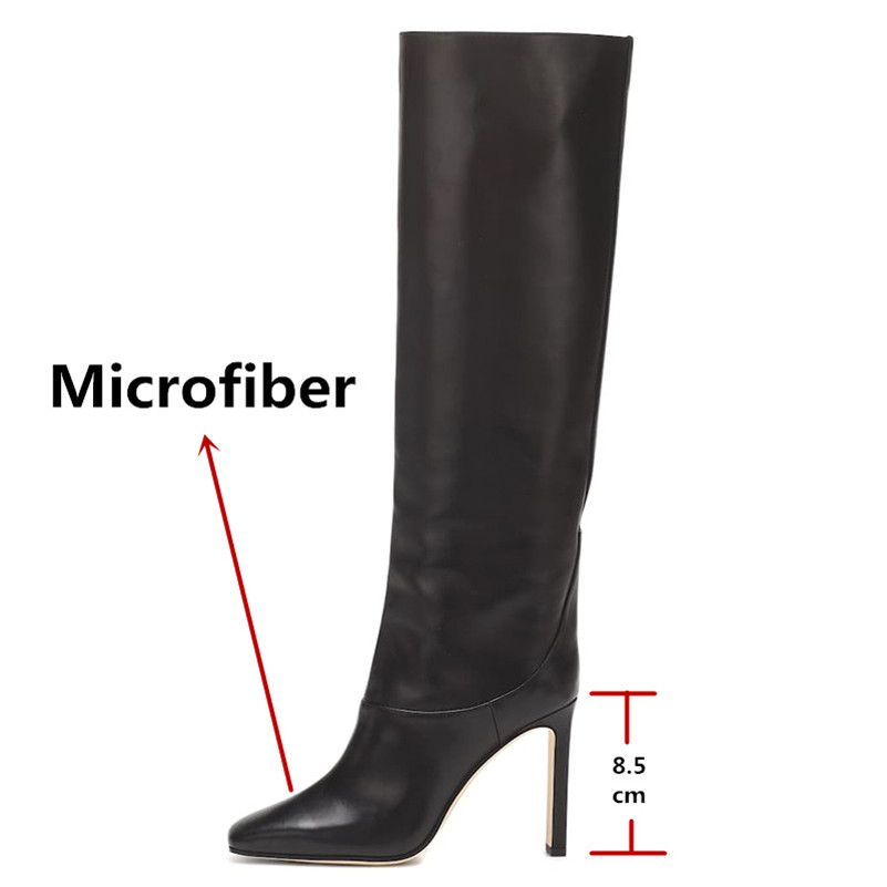 Image 3 - FEDONAS Fashion Women Knee High Boots Autumn Winter Warm Party Shoes Woman Square Toe High Heeled Motorcycle Boots Long Shoes-in Knee-High Boots from Shoes