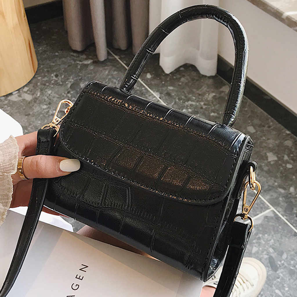 & 35 bolsas de ombro femininas 2019 moda retro cor pura bolsas de couro do vintage mensageiro cor sólida simples crossbody saco