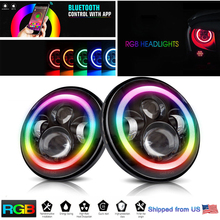 Pair 7 inch RGB LED Headlights 120W Hi-Low Beam with Angel eyes Multi-color For Jeep Wrangler JL CJ JK LXY Ford Mustang