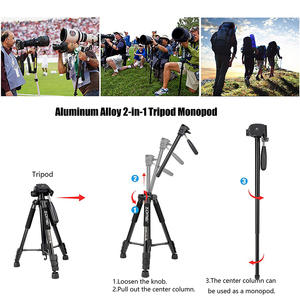 Image 5 - Cadiso Q222 Professional Video Photo Camera Tripod Flexible Photographic Tourism Travel Stand with Monopod for DSLR Camera Phone