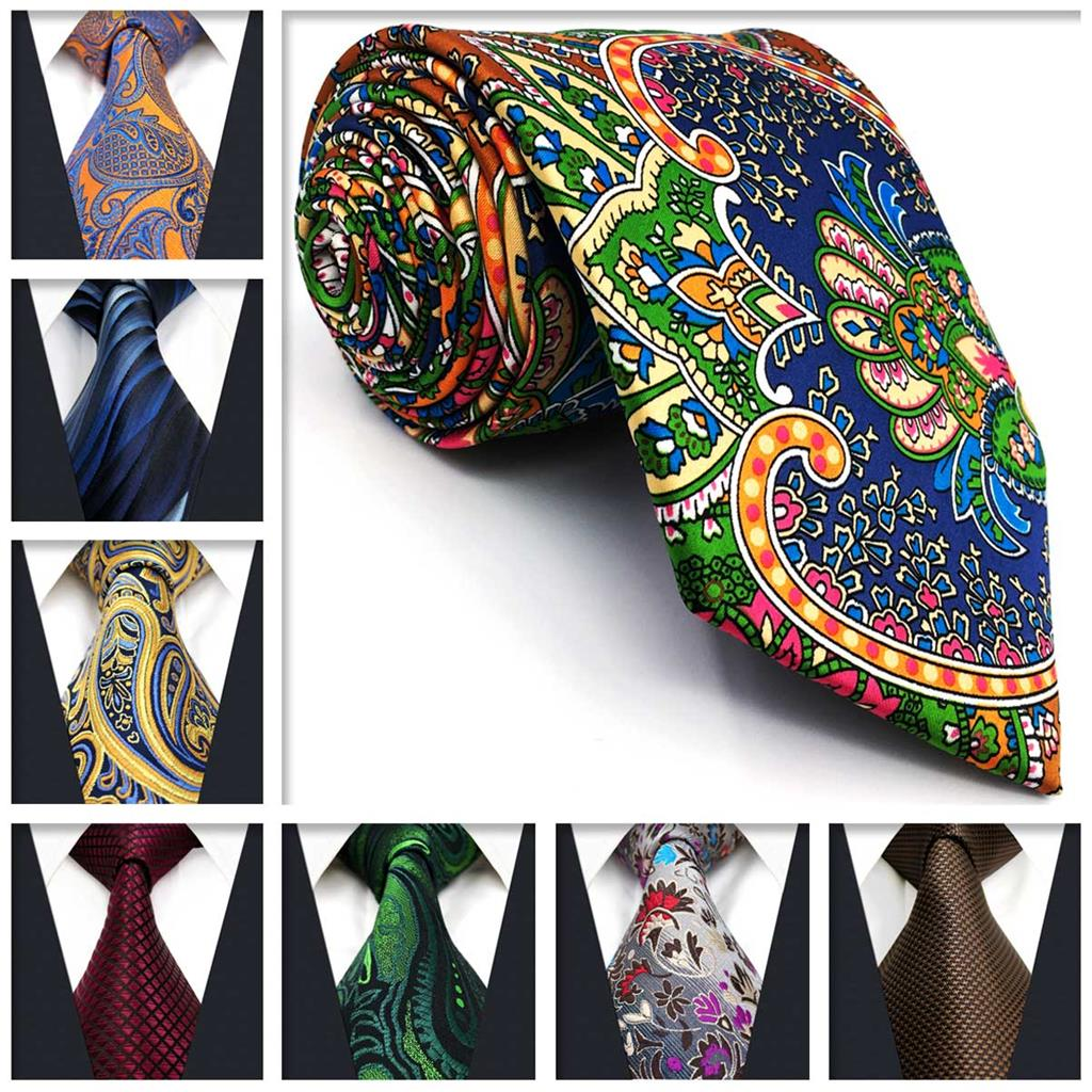 "Dot Floral Mens Necktie Silk Paisley 63"" Fashion Extra long size Ties for Men Colorful Wedding"