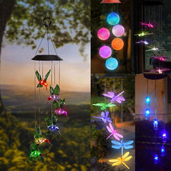 Solar Powered LED Wind Chime Transparent Hummingbird Wind Chime Color-Changing Waterproof for Party Patio Yard Garden Decor