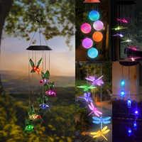 Solar powered led vento carrilhão transparente hummingbird vento carrilhão cor-mudando à prova dwaterproof água para festa pátio quintal decoração do jardim
