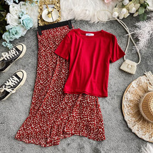 New 2020 fashion Women 2 Piece Set Short sleeve Solid Top T