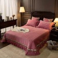 Luxo pálido malva azul roxo cinza borda do laço grosso acolchoado velo veludo colcha capa de cama folha cobertor fronhas 3 pçs