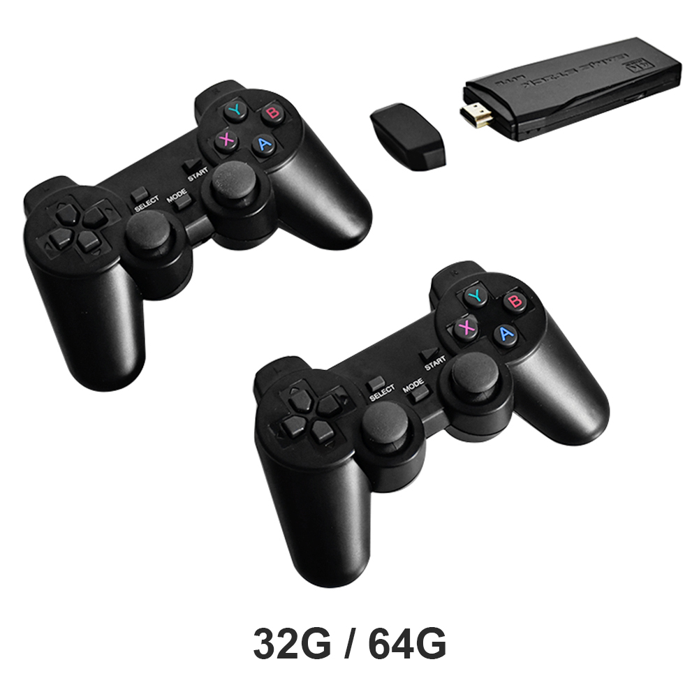 POWKIDDY Tv Game Stick 4K HD Video Game Console Retro Arcade 64GB 10000 Games Wireless Dual Controller Gamepad Children's Gifts