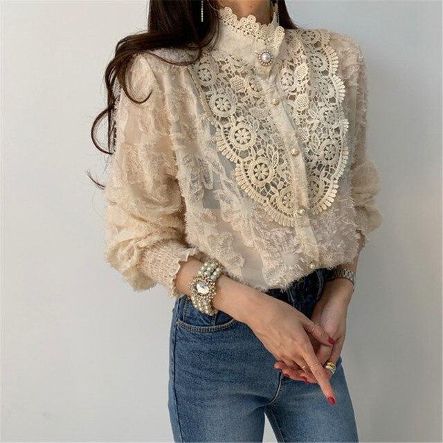 Women Crochet Lace Blouses Women Korean Ladies Solid Color Stand Collar Long Sleeve Blusa Vintage Blouse Spring Shirt Tops 6