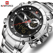 NAVIFORCE Mens Watches Luxury Brand Men Sports Quartz LED Digital Full Steel Military Wrist Watch Relogio masculino