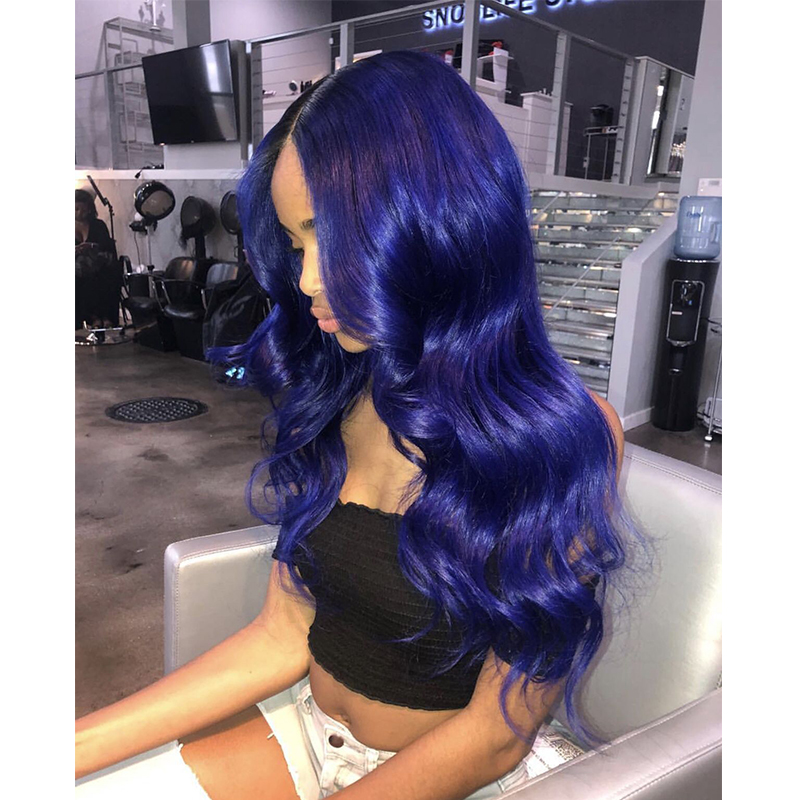 Dark Blue Deep Part 13*6 Lace Front Wigs With Pre Plucked Hairline Malaysian Remy Hair Body Wave Lace Front Human Hair Wig