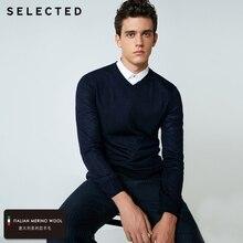Выбранный шерстяной свитер итальянский меринос V воротник трикотажная одежда мужская легкий Трикотаж пуловеры S | 418424501