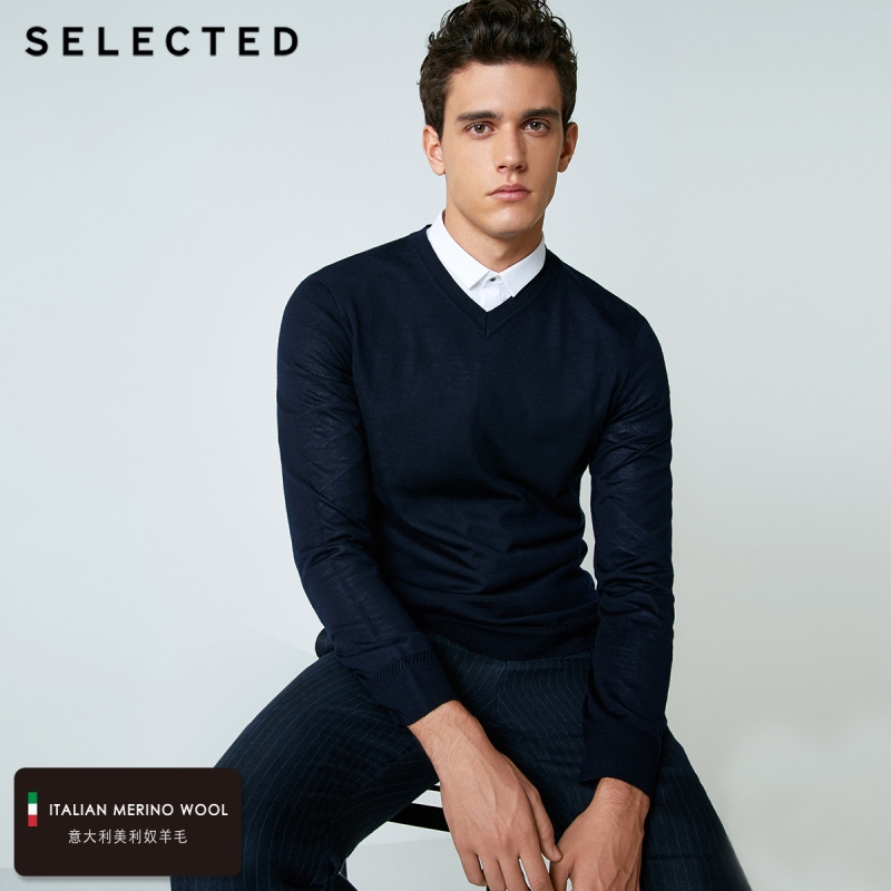 SELECTED 100% Wool Sweater Italian Merino V Collar Knit Clothes Men's Lightweight Knitwear Pullovers S | 418424501