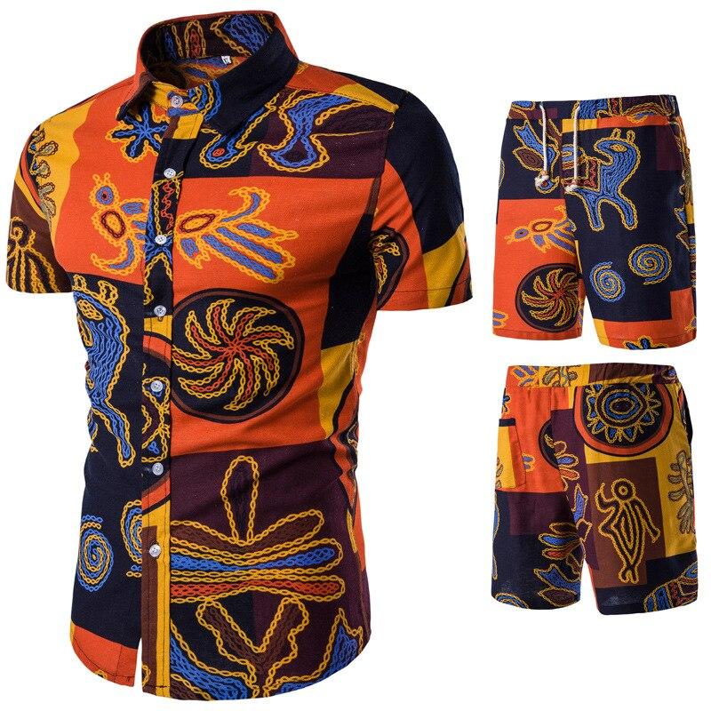 2019 Summer New Style Men Fashion Casual Shorts Floral-Print Short Sleeve Set
