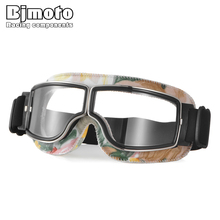 BJMOTO Universal Foldable leather Motorcycle Goggles Windproof dustproof Motorbike Scooter Biker Glasses Helmet  30%OFF