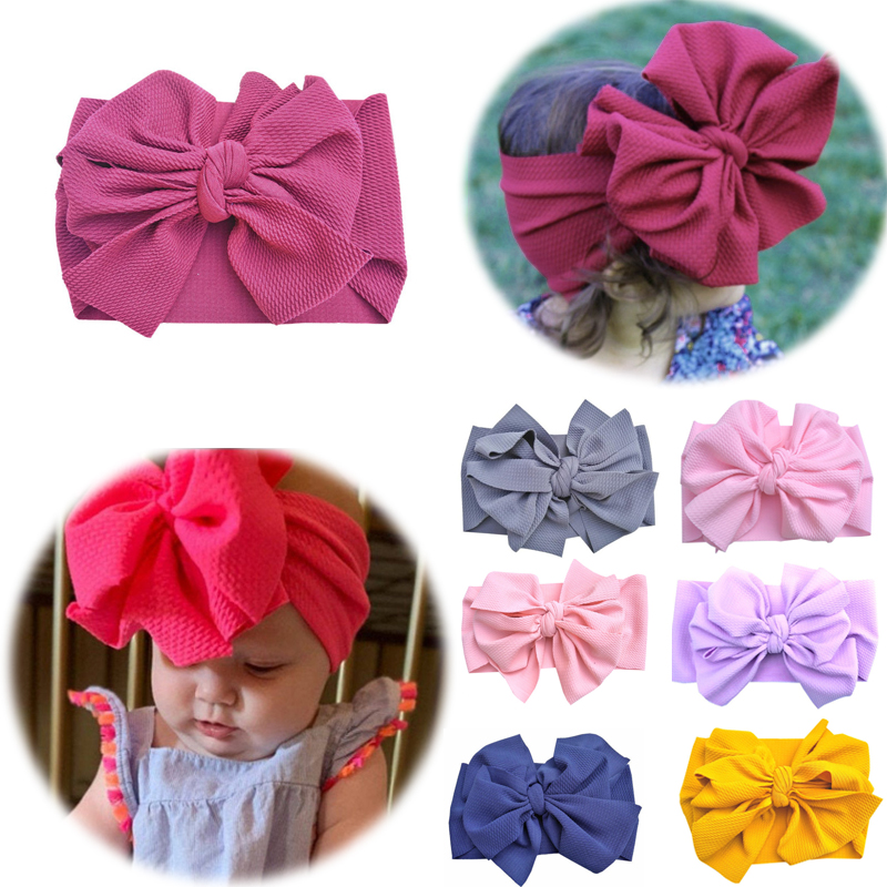 2020 New Infant Headband Newborn Toddler Baby Girl Boy Headwear Double Bowknot Soft Turban Knot Hairband Baby Shower Gifts