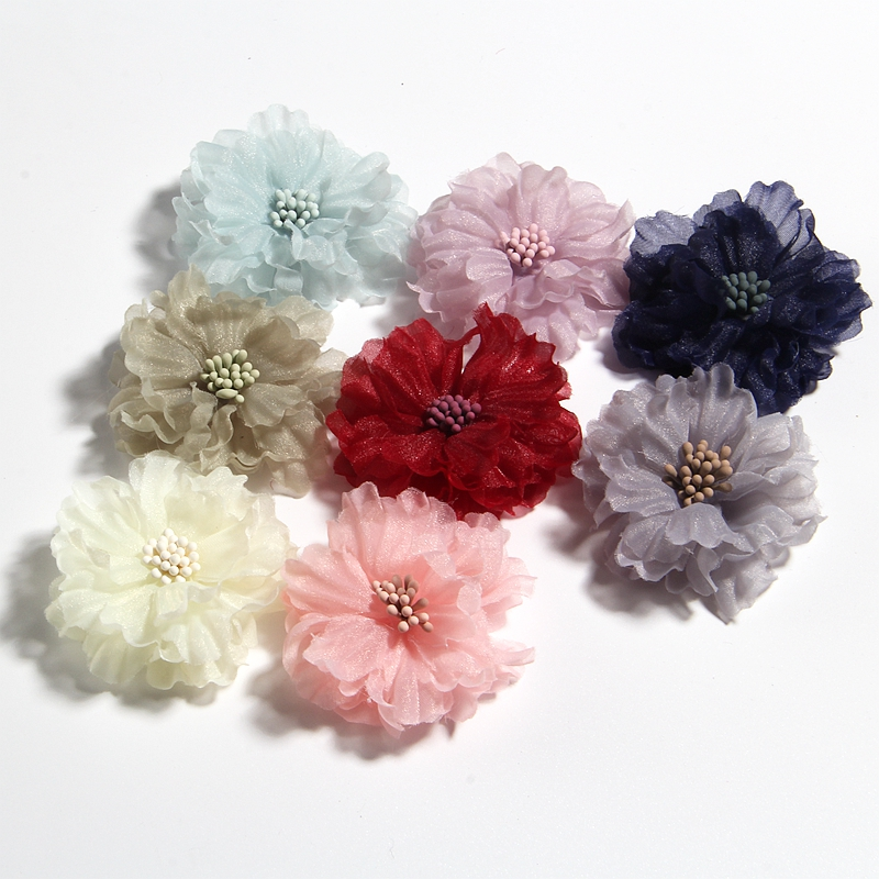 """50PCS 5CM 2/"""" Hair Fabric Flowers Blossom With Matches For Headbands Bouquet"""