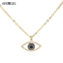 Trendy Cubic Zirconia blue Eye Pendant Necklace For Women Korean Gold Silver Color Chain Necklace Fashion Wedding Choker Jewelry