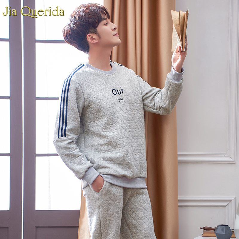 Brand Quality 100% Cotton Pajamas 100% Cotton 3 Layer Padded Grey Letter Embroidery Sporty Pajamas Men Home Suit Men Sleepwear